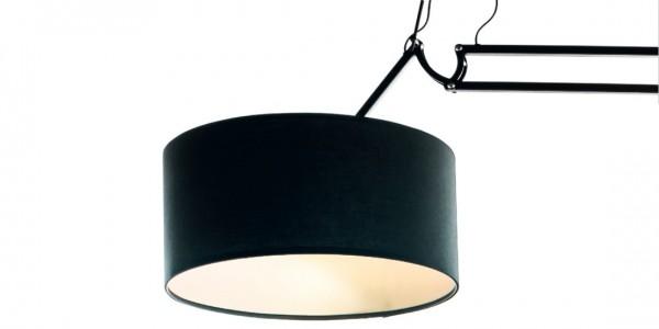 Stehlampe 50cm lackiertes Metallgestell/Stoffschirm schwarz