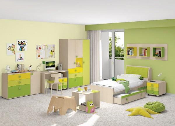 Kinder-Jugendzimmer 6tlg. kanadischer Ahorn/ Trio Green
