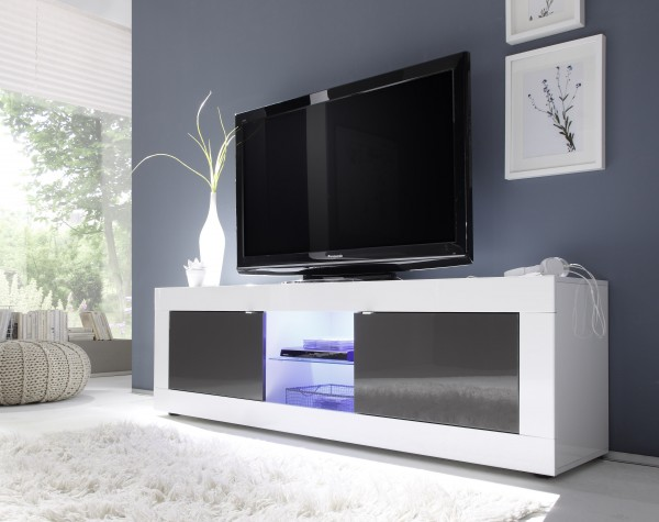 TV Unterteil 181cm weiß/anthrazit mit Glasablage