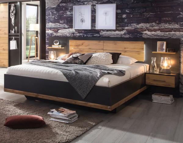 Bettanlage 180x200cm mit 2 Nachttischen grau metallic/Eiche Wotan