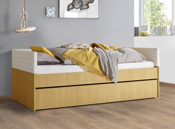 Einzelbett mit Bettkasten Melamin/ Holzstruktur gelb