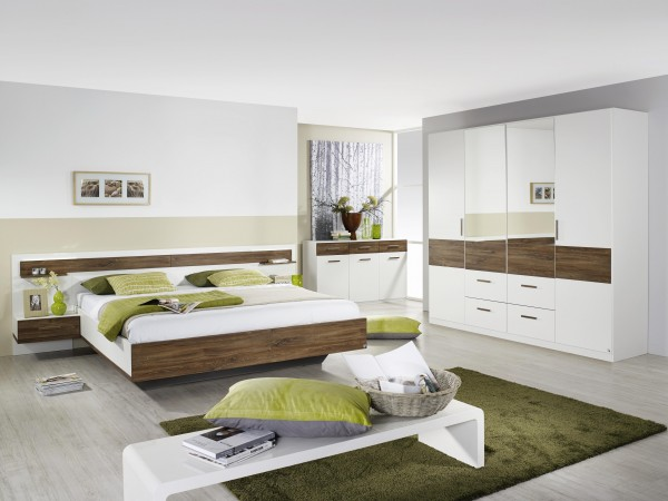 Schlafzimmer mit Bett 180x200cm Alpinweiß/ Eiche Sterling