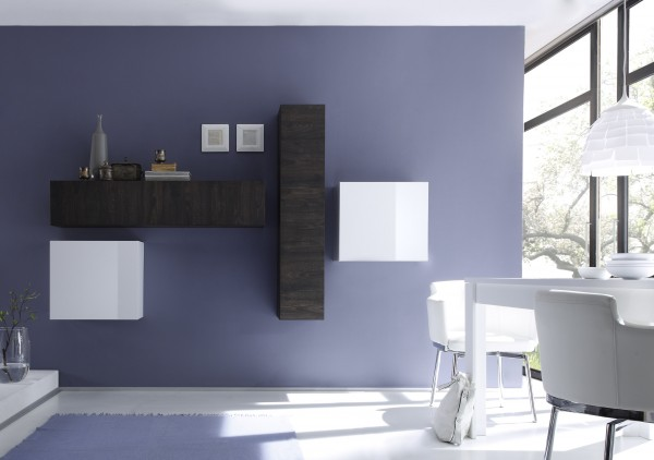 LC Spa Cube Wohnwand 4tlg. Eiche Wenge/ weiß Lack