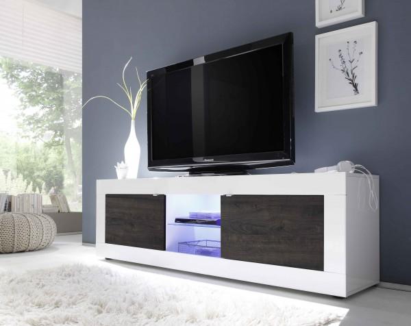 LC Spa Basic TV Unterteil 181cm weiß/Wenge mit Glasablage
