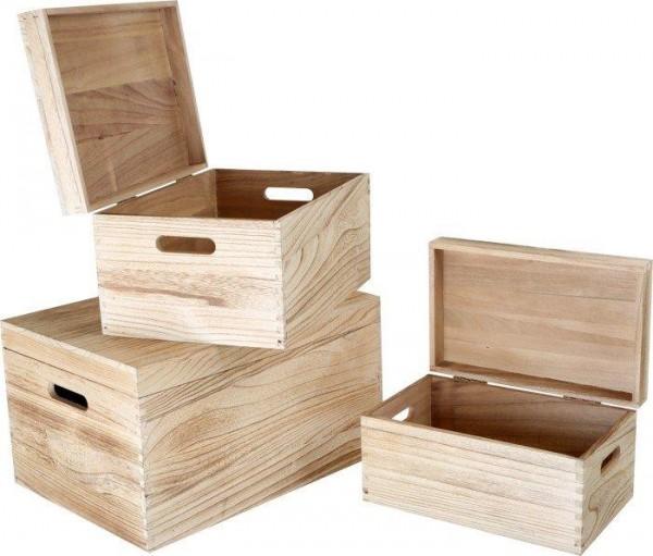 Holztruhe-Dekokisten-Holzbox Natur in versch. Größen