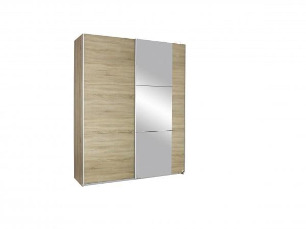 Schwebetürenschrank mit Spiegel 175cm Eiche Sonoma