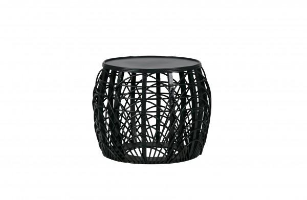 Beistelltisch Marit 49cm Flecht Design Holz schwarz