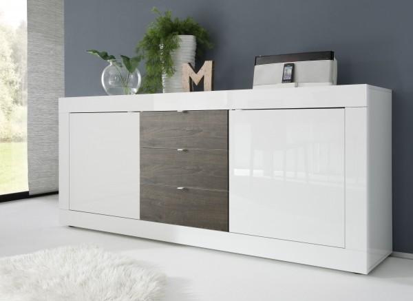 Sideboard 210cm weiß/ Wenge
