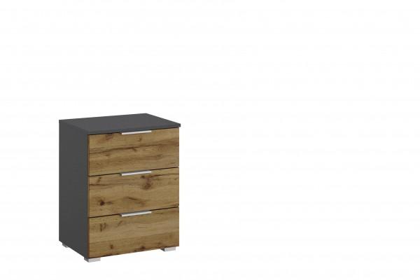 Nachttisch 47cm mit 3 Schubkästen graumetallic/ Eiche Wotan