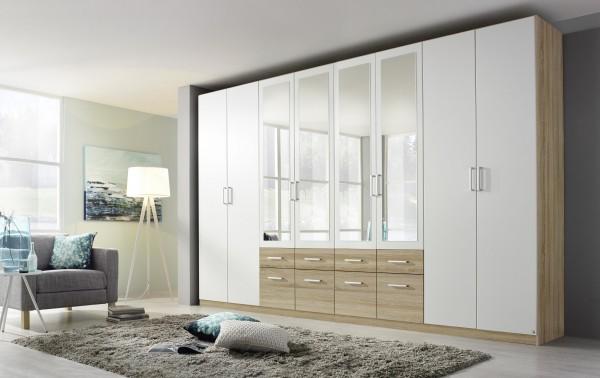 Kleiderschrank mit Schubkästen und Spiegel 360cm alpinweiß/Eiche Sonoma