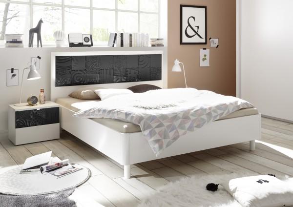 Einzelbett Futonbett 180x200cm weiß matt/ Siebdruck anthrazit Hochglanz