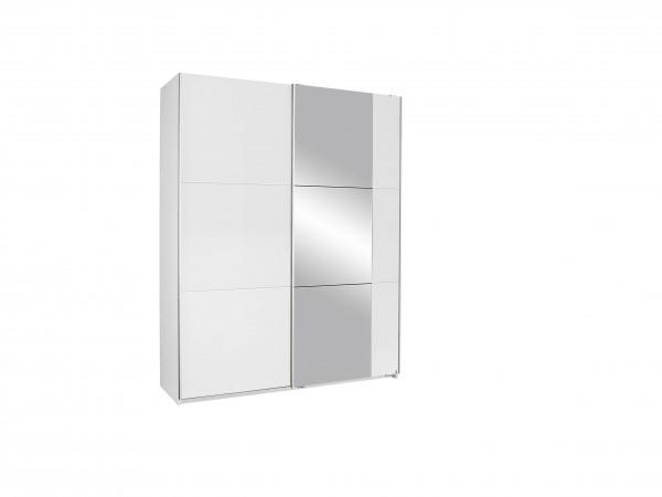 Schwebetürenschrank mit Spiegel 175cm alpinweiß