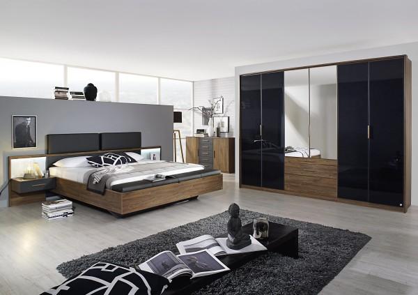 Schlafzimmer mit Bett 180x200cm Eiche Stirling/Graumetallic