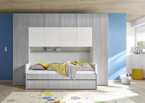 Funktionsbett mit Bettbrücke weiß Melamin/ Holzstruktur grau