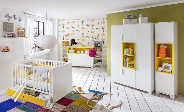 Babyzimmer Joris von Wimex mit farbigem Einsatz Alpinweiß/Gelb
