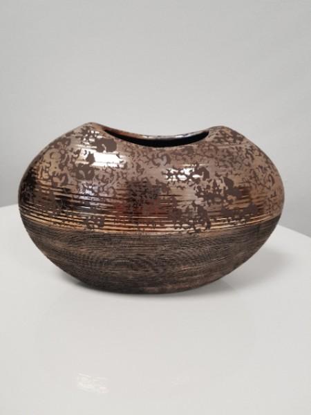 Deko Vase 26cm oval Bronze