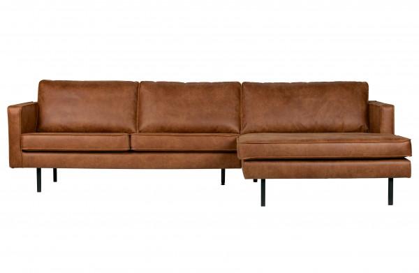 Sofa 3-Sitzer Eco Leder Cognac Chaiselongue rechts