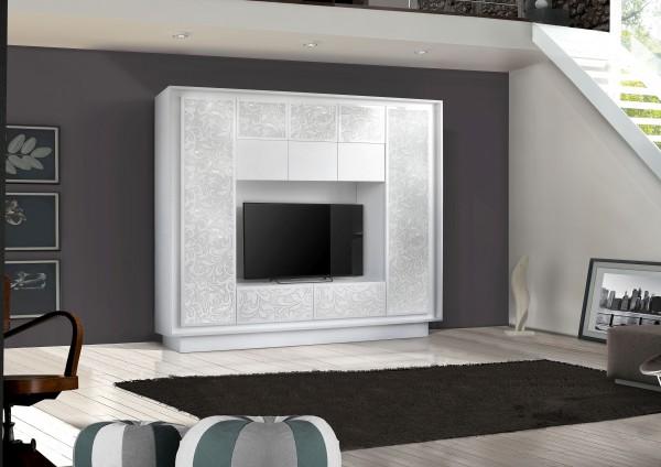 Wohnwand 240cm weiß Lack matt mit Floraldruck