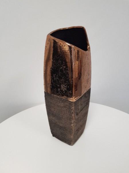 Deko Vase 31cm eckig Bronze