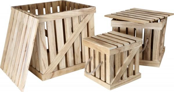 Holzkisten-Dekokisten-Holzbox-Weinkiste mit Deckel in versch. Größen