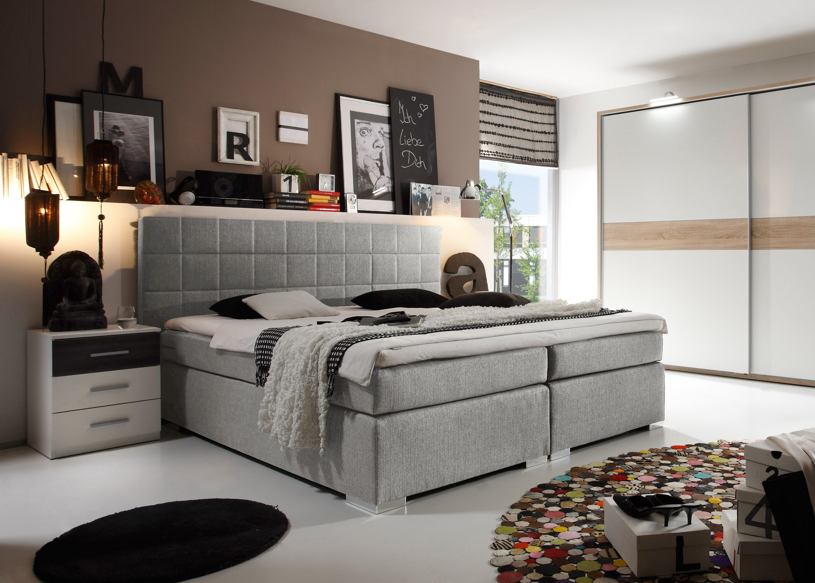 bett doppelbett boxspringbett 180x200cm silber grau 7 zonen komfort topper ebay. Black Bedroom Furniture Sets. Home Design Ideas