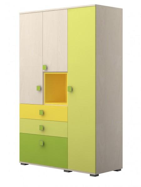 Kleiderschrank 125cm Ahorn/ Trio grün