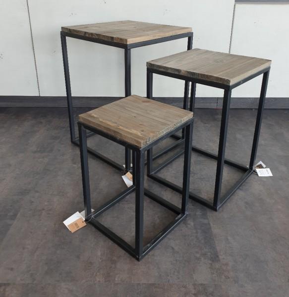 Beistelltisch Dark grey wash Metall/Holz Platte versch. Gr.