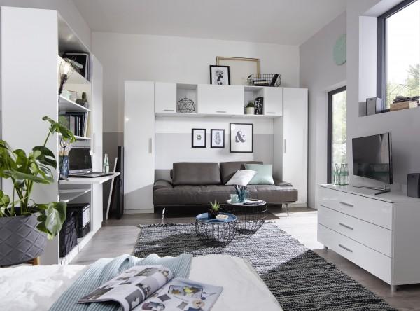 Wohnraumkombi 3: 3tlg. Stauraumüberbau + Dreher 1trg. alpinweiß