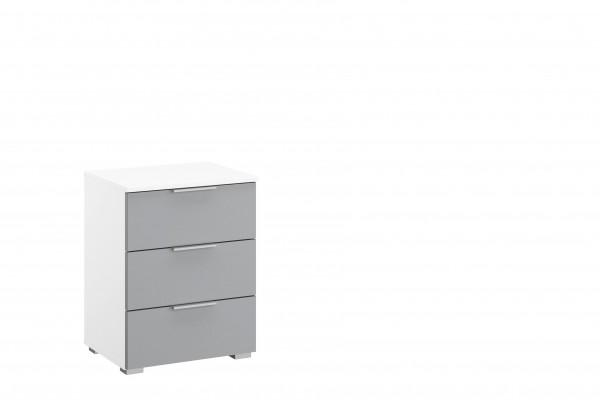 Nachttisch 47cm mit 3 Schubkästen alpinweiß/ seidengrau HG