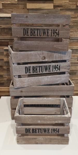 """Holzkisten-Holzbox """"Betuwe 1954"""" Natural wash verschiedene Größen"""