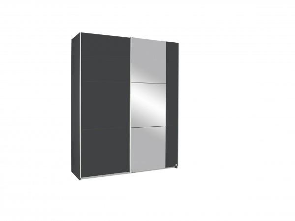 Schwebetürenschrank mit Spiegel 175cm grau metallic