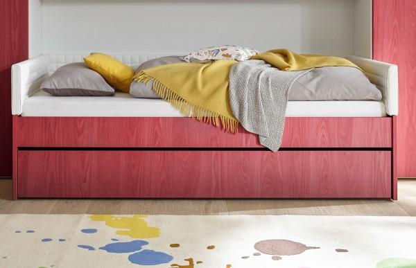 Einzelbett mit Bettkasten Melamin/ Holzstruktur rot