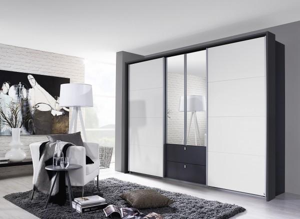Dreh-/Schwebetürenschrank 271cm grau metallic/alpinweiß