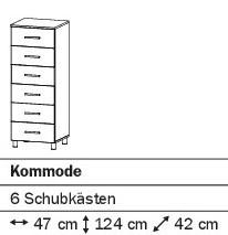 Kommode mit 6SK 47cm alpinweiß oder weiß HG