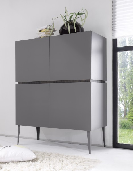 LC Spa Highboard 123cm anthrazit Lack matt/ Wenge