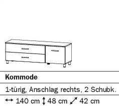 Kommode 1-türig rechts/2SK 140cm alpinweiß oder weiß HG
