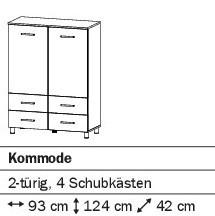 Kommode 2-türig/4SK 93cm alpinweiß oder weiß HG