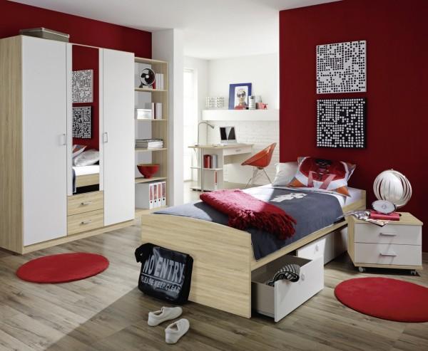 Kinder-Jugendzimmer 4tlg. alpinweiß/ Dekor Druck Eiche Sonoma