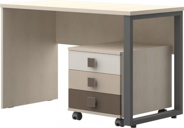 Schreibtisch mit Rollcontainer Ahorn/ Trio coffee