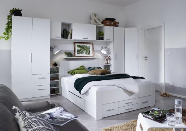 Wohnraumkombi 1: 7tlg. mit Komfortbett 140x200cm alpinweiß