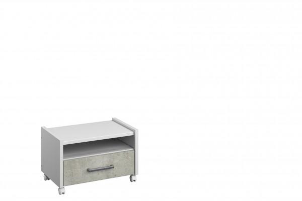 Nachttisch rollbar 54cm alpinweiß oder graumetallic