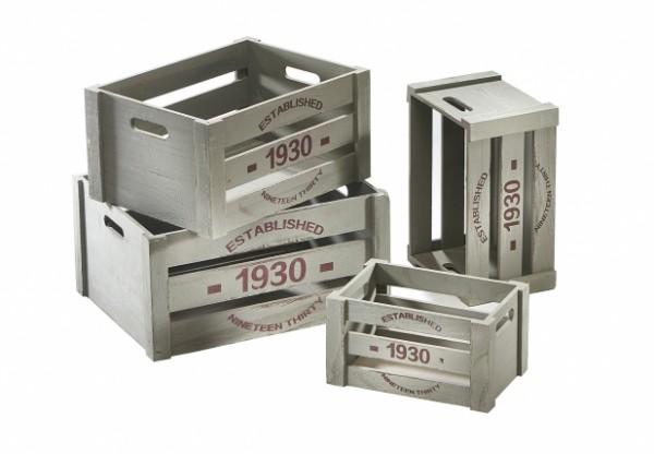 Holzkisten-Dekokisten 1930 white washed verschiedene Größen