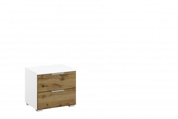 Nachttisch 47cm mit 2 Schubkästen alpinweiß/ Eiche Wotan