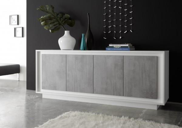 Sideboard 207cm weiß Lack matt/ Beton Optik