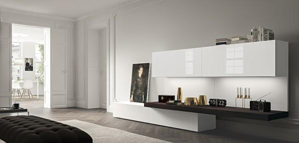 Morassutti LIVE Wohnwand 360cm weiß Lack/ Glas Hochglanz/ Räuchereiche