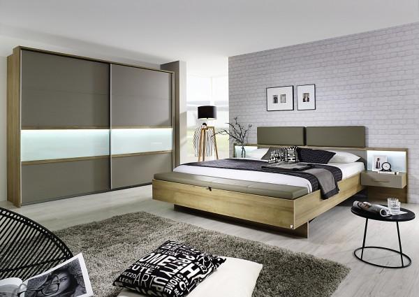 Schlafzimmer mit Bett 180x200cm Eiche Riviera