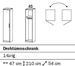 Drehtürenschrank 47cm alpinweiß oder weiß HG