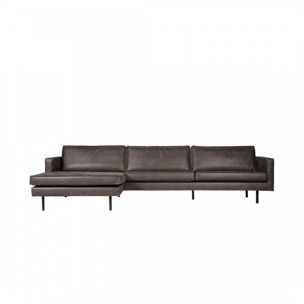 Sofa 3-Sitzer Eco Leder schwarz Chaiselongue links von De Eekhoorn