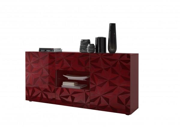 LC Spa Prisma Sideboard 2trg/Glasboden rot Hochglanz