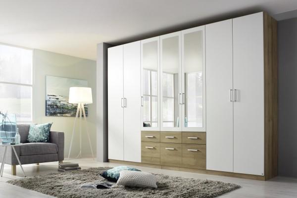 Kleiderschrank mit Spiegel und Schubkästen 315cm alpinweiß/Eiche Riviera
